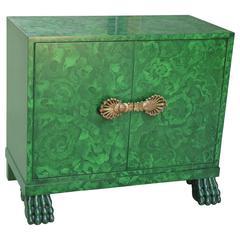 Faux Malachite Lacquer Cabinet