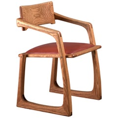 Ed Steckmest Studio Craft Chair with Leather Seat, USA, 1970s