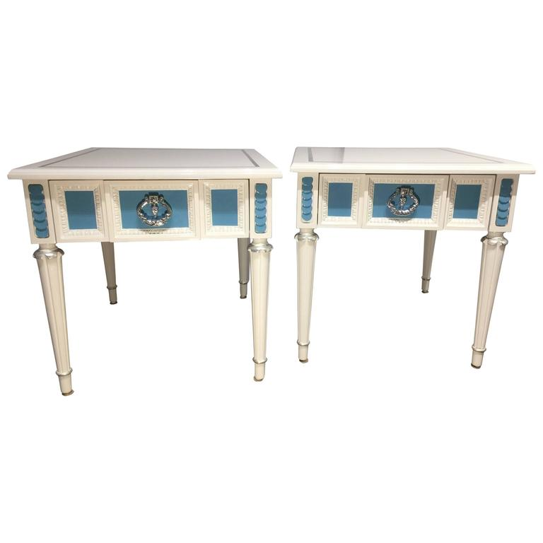 Hollywood Regency White and Blue Lacquered Nightstands, Side Table For Sale