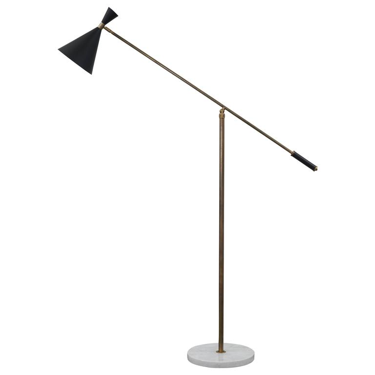Vintage italian floor lamp with metal shade and marble for Vintage floor lamp with metal shade