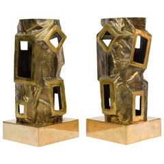 Pair of Paco Rabanne Bronze Sculpted Lamps
