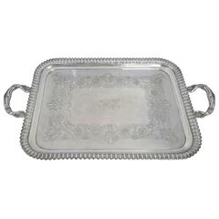 Very Large, Art Nouveau Style, Sterling Silver Tray, English