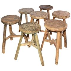 Collection of Rustic Asian Teak Stools