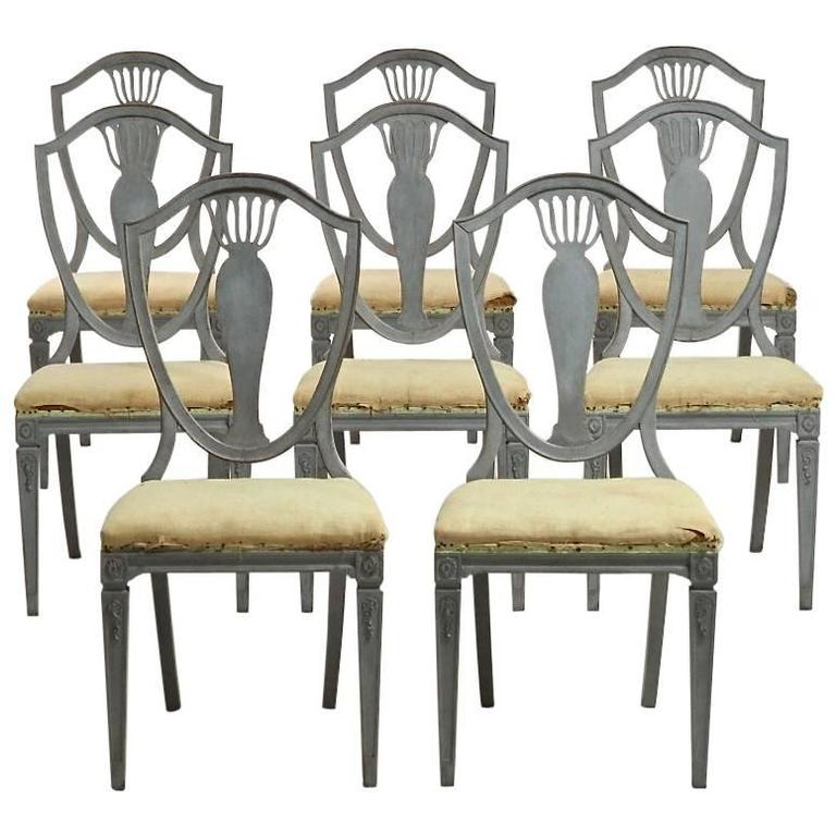 Set of eight swedish gustavian style dining chairs at 1stdibs for Swedish style dining chairs