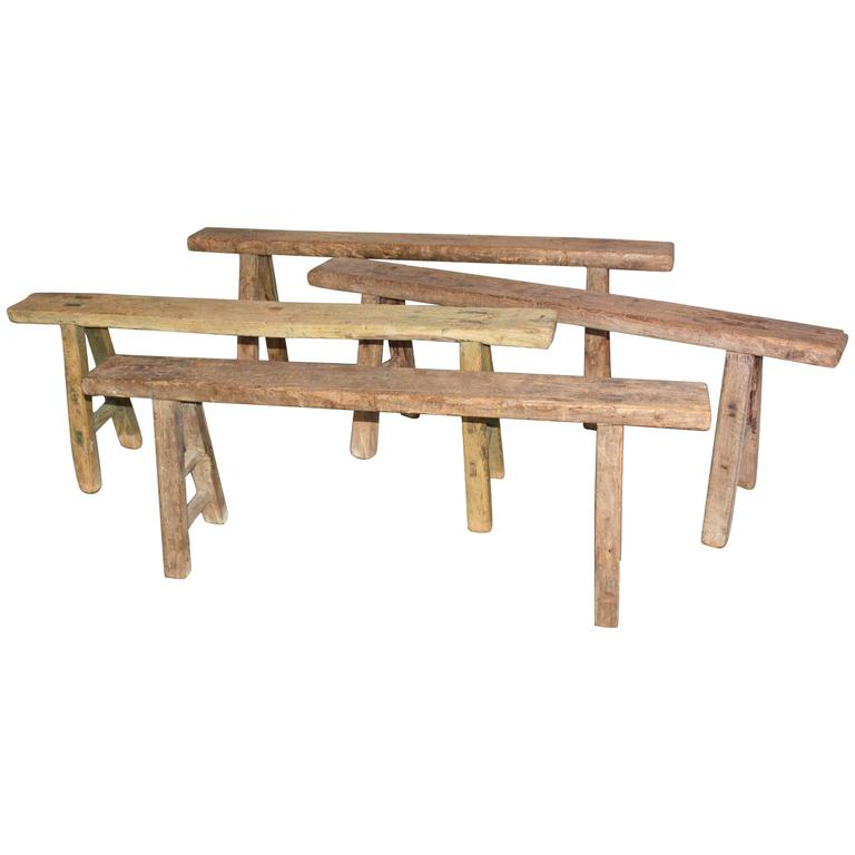 Four Rustic Antique Asian Teak Benches Sold Singly