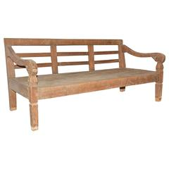 Colonial Hand-Carved Teak Wood Daybed Bench