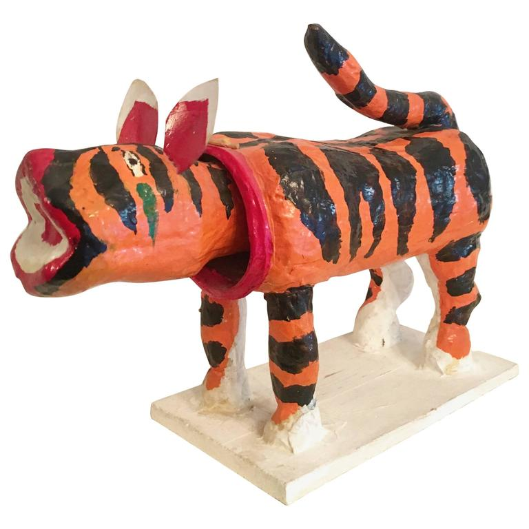 Japanese Folk Art Paper Mâché Tiger with Bobble Head