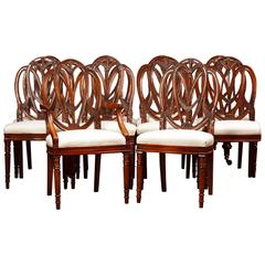 Set of Mahogany Hepplewhite Dining Chairs Furniture Carved Seats