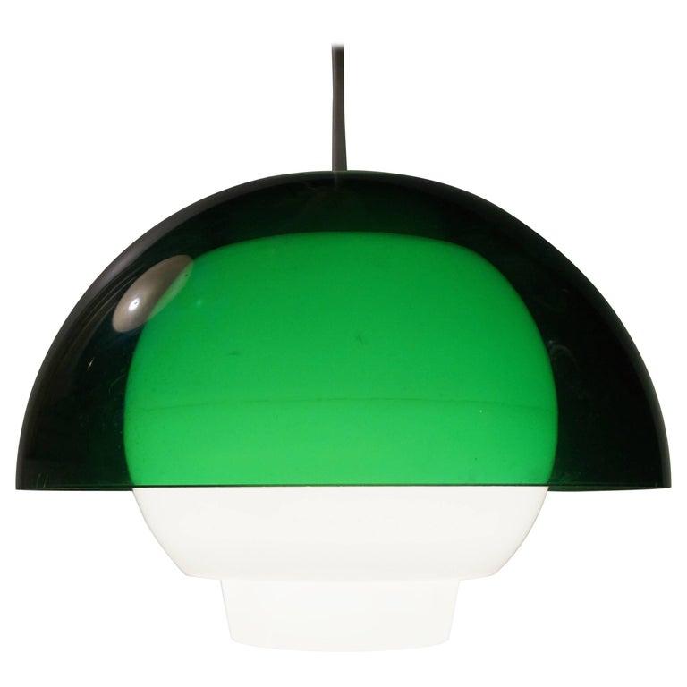 'Ergo' Green Plexiglass Pendant Lamp by Bent Karlby for A. Schroder Kemi, 1970s For Sale