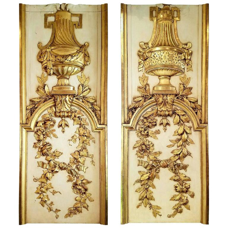Pair of Gilt and Gessoed Architectural Panels with French Style Details