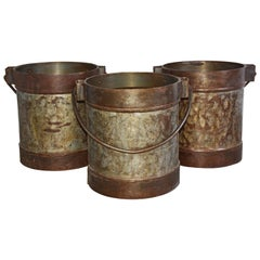 19th Century Iron Bucket with Handle Sold Singly