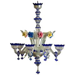 Large and Decorative Venetian Glass Chandelier