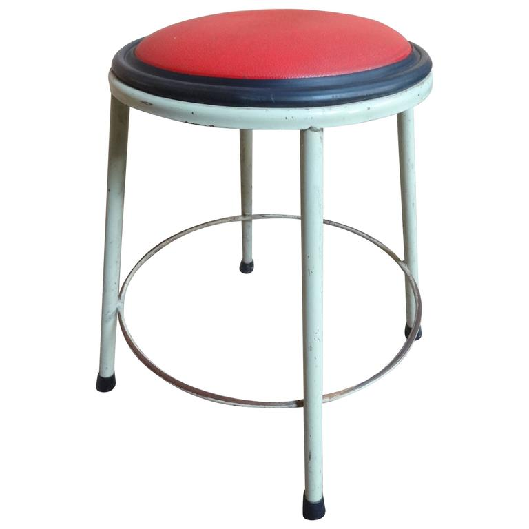 1950s Retro Vintage French Industrial Metal Stool with Red Vinyl Seat 1  sc 1 st  1stDibs : vintage metal stool - islam-shia.org