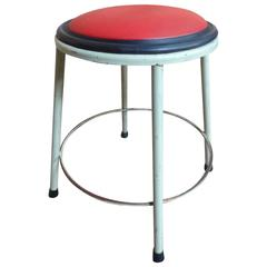 1950s Retro Vintage French Industrial Metal Stool with Red Vinyl Seat