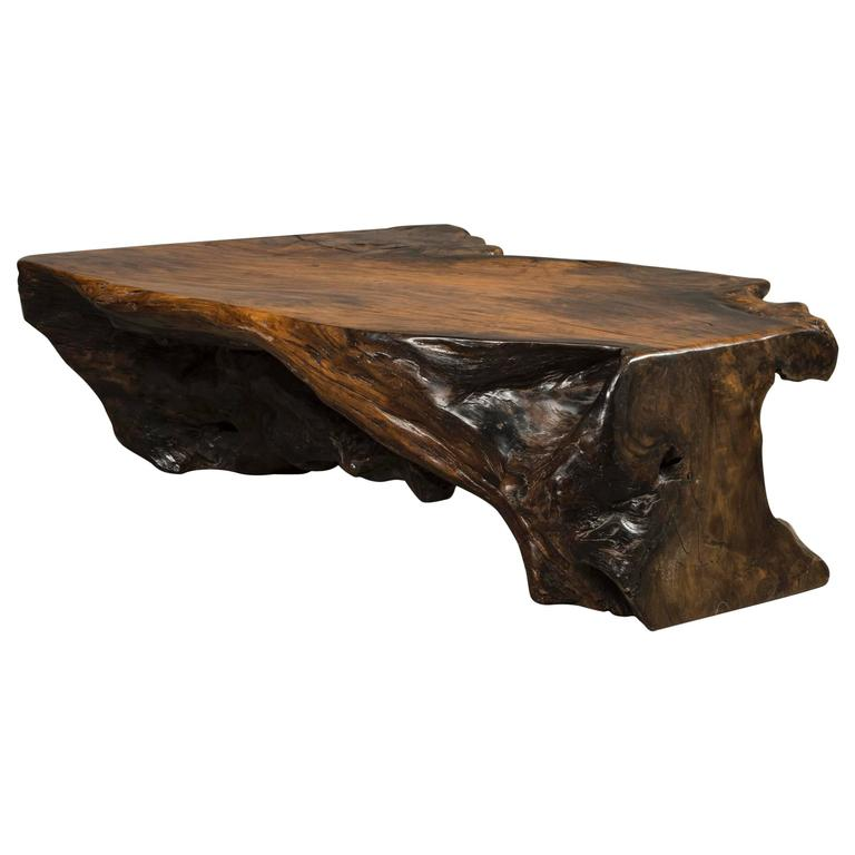 Coffee Table Free Form Made Of Narra Root Wood For Sale