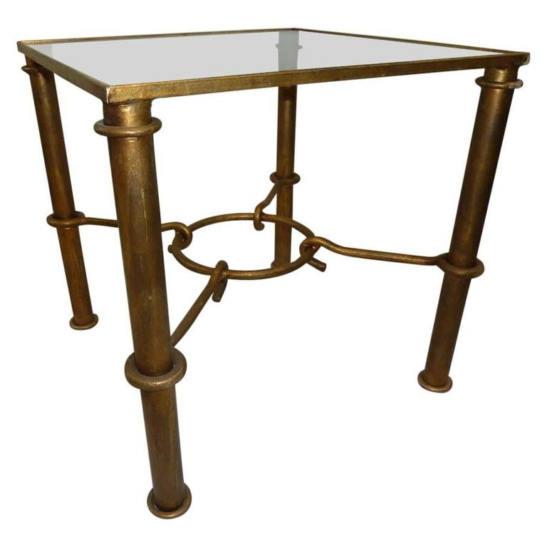 Vintage Faux Bamboo Gilded Metal End Table