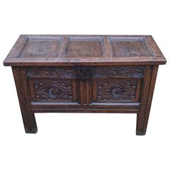Antique circa 1700 Oak Blanket Box Coffer