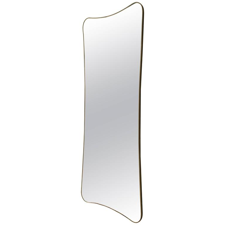 Italian 1950s Brass Wall Mirror 1