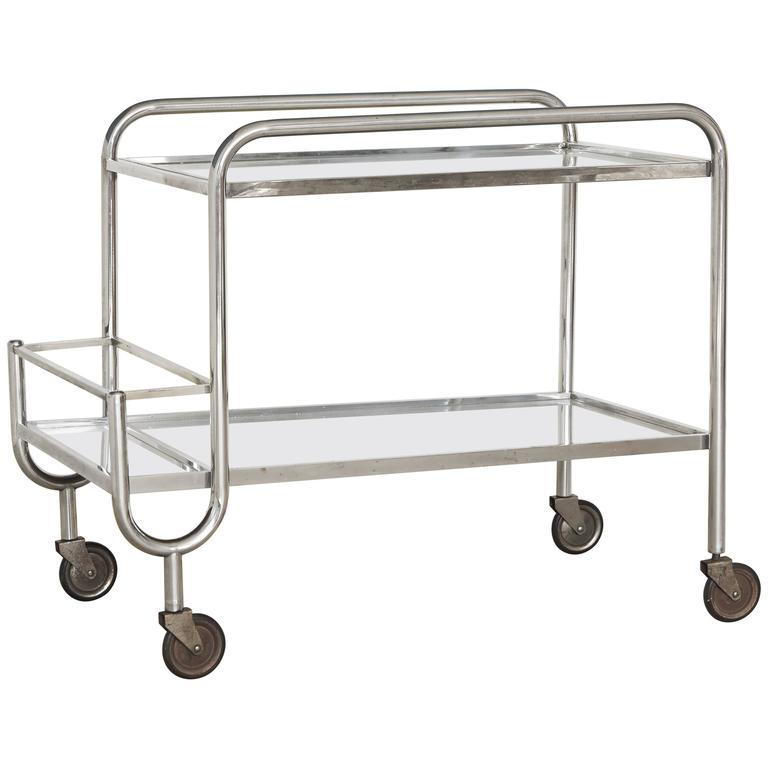 French 1940s Chrome and Mirror Bar Cart 1