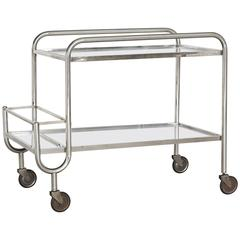 French 1940s Chrome and Mirror Bar Cart