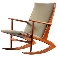 Rare Danish Teakwood Rocking Chair Holger Georg Jensen, 1950