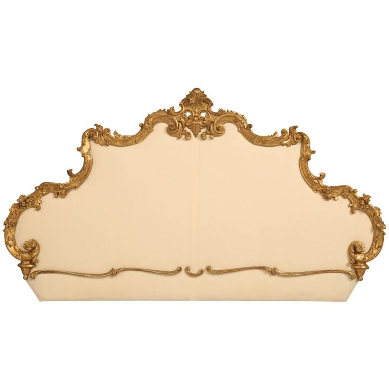Antique Italian Gilded King-Size Headboard For Sale
