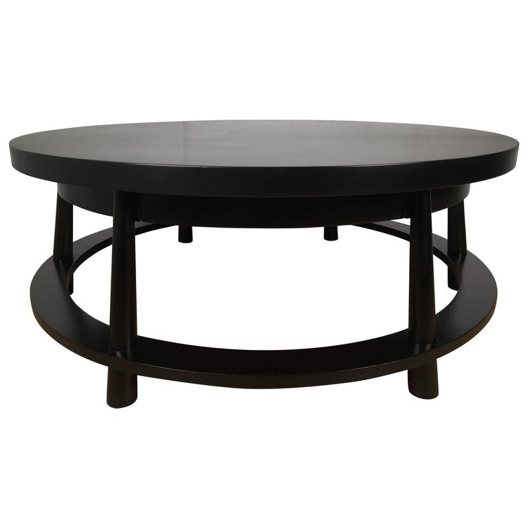 Rare Ebonized Two-Drawer Cocktail Table by T.H. Robsjohn-Gibbings For Sale