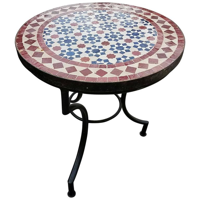 Moroccan mosaic table wrought iron base for sale at 1stdibs for Wrought iron side table base