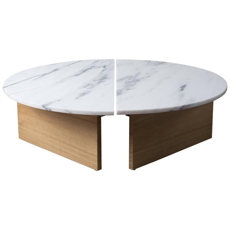 Contemporary Half Moon Coffee Table In Imperial Danby Marble And White Oak For Sale At 1stdibs