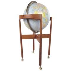 Mid-Century Modern Illuminated Replogle Globe on Teak Stand