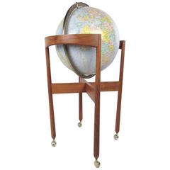 Mid-Century Modern Illuminated Replogle Globe on Teak Stand