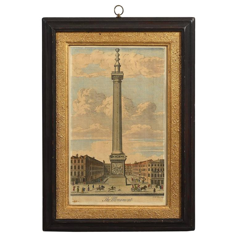 18th Century Hand-Colored Engraving of the Monument, London