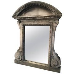 Imposing French Zinc Architectural Mirror with Original Glass