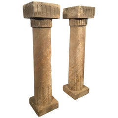 Pair of 18th Century French Sandstone Columns or Console Table Bases