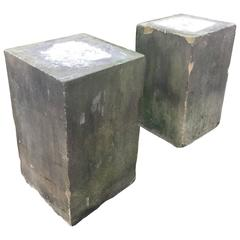 Pair of Grand English Carved Yorkstone Pedestals