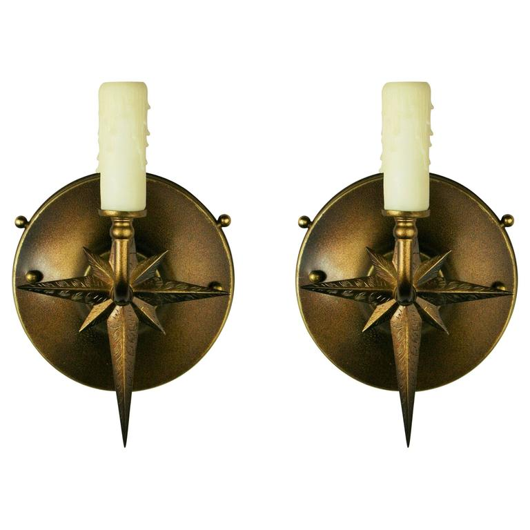 Mid Century Pair of French Starburst Sconces For Sale