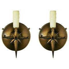 Mid Century Pair of French Starburst Sconces