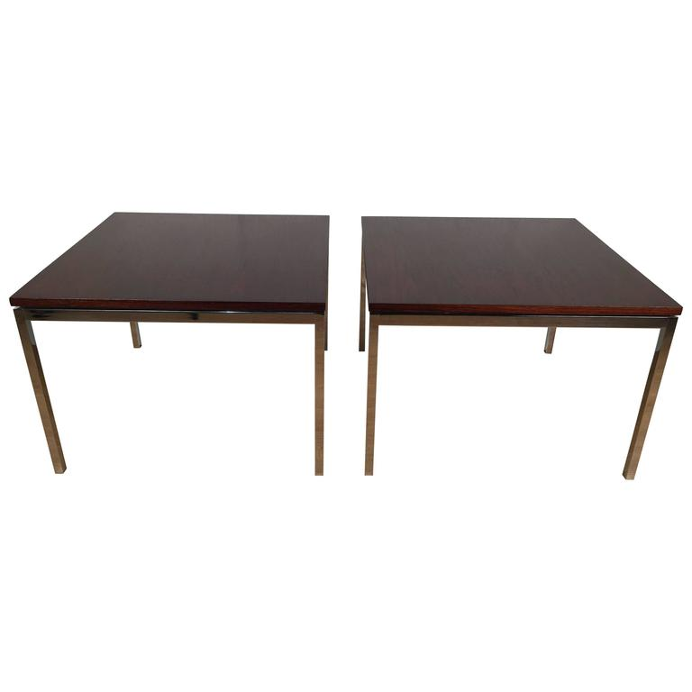 Pair of Florence Knoll T-Angle Rosewood and Chrome Side Tables