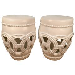Pair of White Lacquered Garden Seats