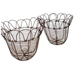 Pair of Handcrafted English Wire Egg Baskets