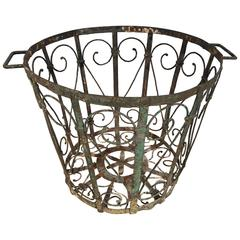 Decorative French Wrought Iron Wastepaper Basket