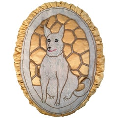 Large English Oval Silk Dog Pillow with Alsatian
