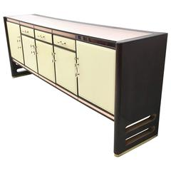 Wood and Pink Mirror Sideboard, 1940s
