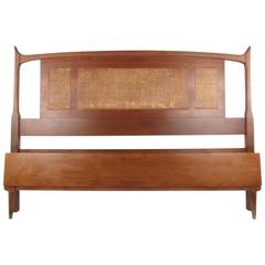 Mid-Century Modern Full Size Walnut and Cane Bed