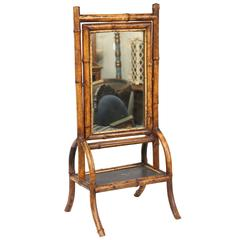 19th Century Bamboo Shaving or Make-Up Mirror Stand
