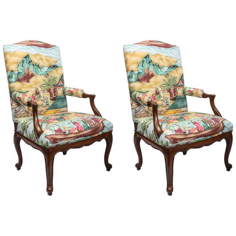 Pair of Chinoiserie Detailed Fauteuils For Sale