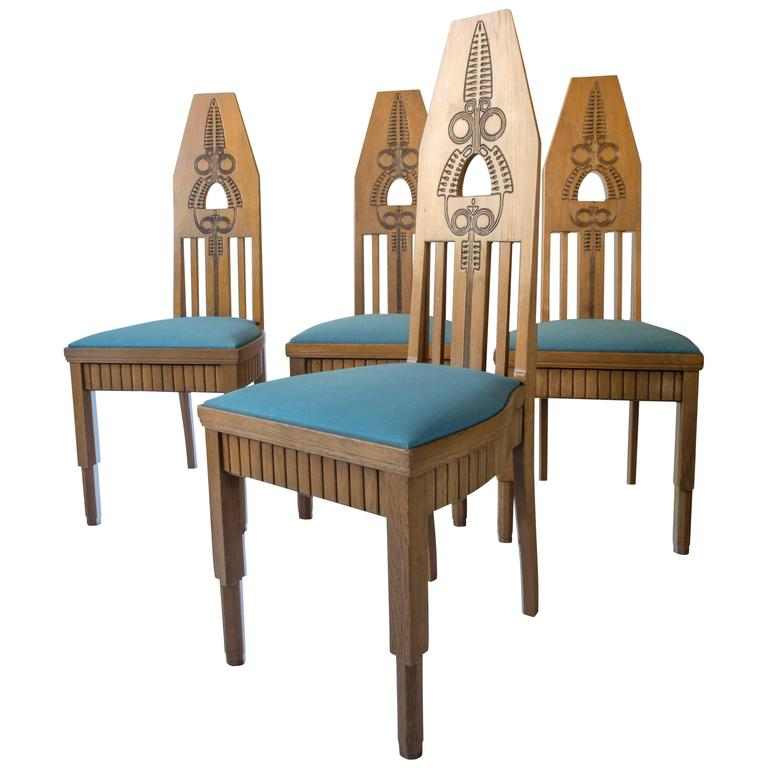 Set of Four Finnish Carved Oak High-Back Jugend Chairs