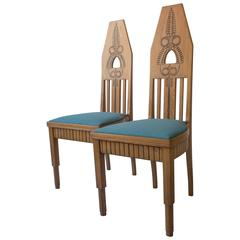 Pair of Finnish Carved Oak High-Back Jugend Chairs