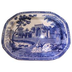 19th Century English Blue and White Transfer-Ware Platter