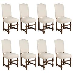 Set of Eight French Louis XIII Style Dining Chairs